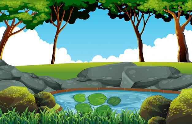 escena de fondo con estanque en el campo