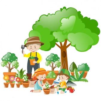 Escena de jardinero y niños con bonitas plantas