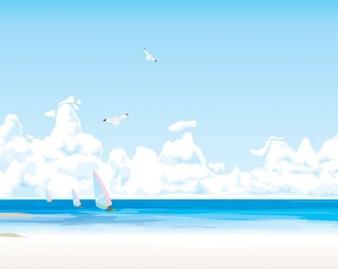escena de la playa azul