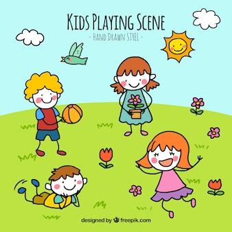 Escena de niños en un paisaje dibujados a mano