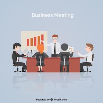 Escena de reunión de negocios con estadísticas