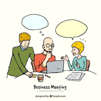 Escena de reunión de negocios dibujada a mano