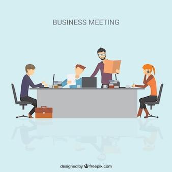 Escena de reunión de negocios en diseño plano