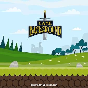 Escena de videojuego con una espada