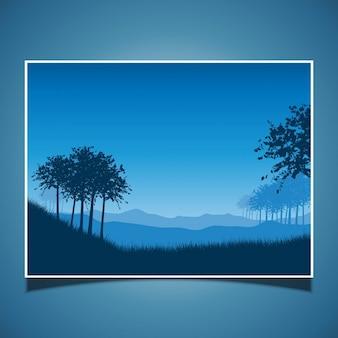 Escena del paisaje en la noche