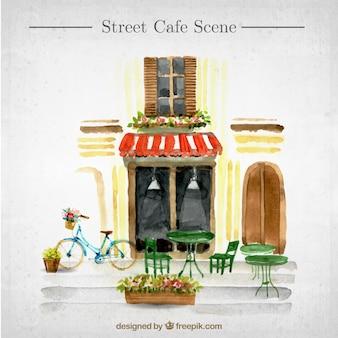 Escena exterior de una cafetería