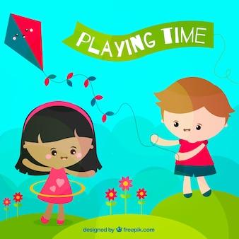 Escena plana de niños jugando al aire libre