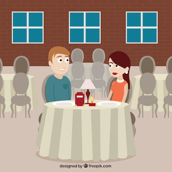 Escena romántica en un restaurante