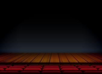 Escenario de madera de teatro