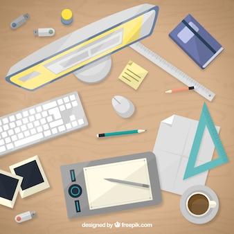 Escritorio de diseñador gráfico en vista superior
