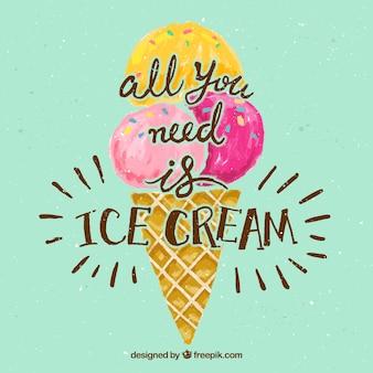 Escritura de verano de helado pintado a mano con simpática frase