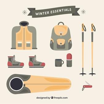 Esenciales de invierno en diseño plano
