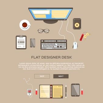 Espacio de trabajo de diseñador en diseño plano