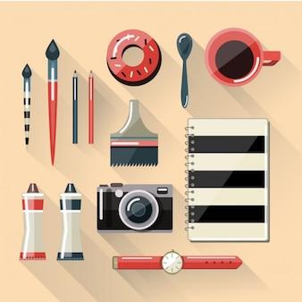 Espacio de trabajo plano del diseñador