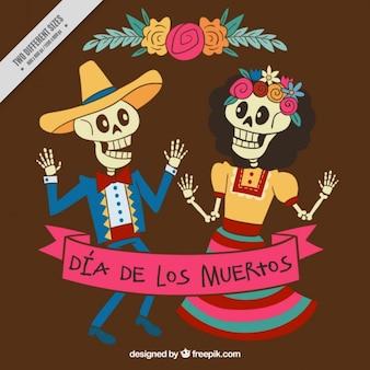 Esqueletos bailando para celebrar el día de los muertos