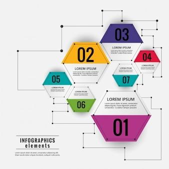 Esquema infográfico hexagonal de colores