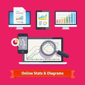 Esquemas y diagramas de estadísticas en dispositivos móviles