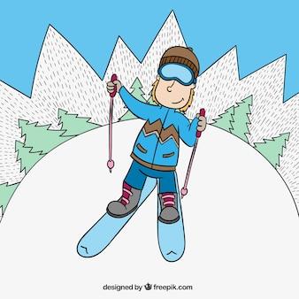 Esquiador dibujado a mano en estilo dibujos animados