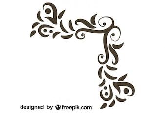 Esquina floral con estilo de diseño retro