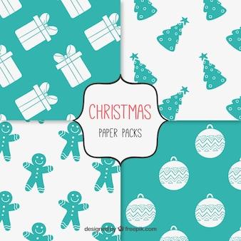Establecido patrón de papel de Navidad