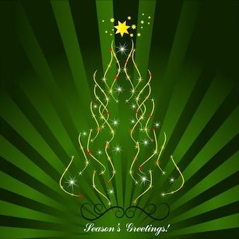 Estaciones tarjeta de saludos con el árbol de Navidad