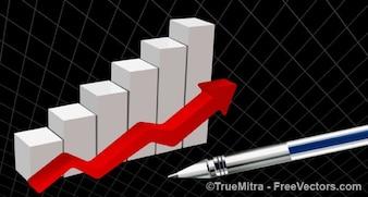 Estadísticas de las empresas con la flecha roja