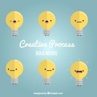 Estados de ánimo de bombillas creativas