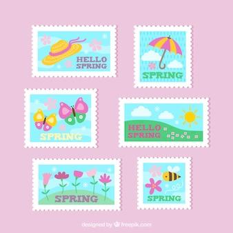 Estampas planas de primavera