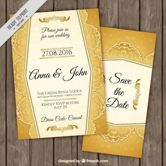 Estilosas invitaciones de boda doradas