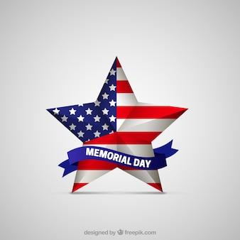 Estrella del día de los caídos con bandera americana