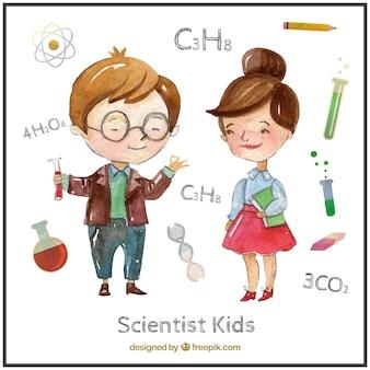 Estudiantes de química en acuarelas