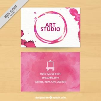 Estudio de arte, tarjeta de visita con manchas de pintura