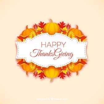 Etiqueta de feliz acción de gracias