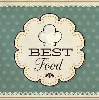 Etiqueta de la comida en fondo retro