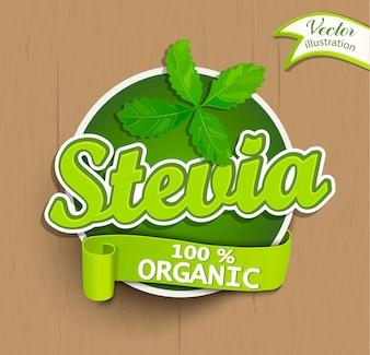 Etiqueta del Stevia, insignia, etiqueta engomada.