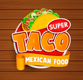 Etiqueta del Taco, logotipo, etiqueta engomada.