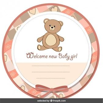 Etiqueta linda de bienvenida del bebé con el oso de peluche