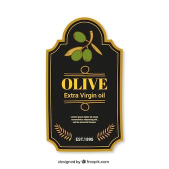 Etiqueta oscura de aceite de oliva con marco dorado