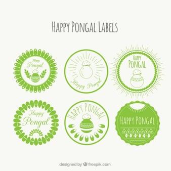 Etiqueta redondas verdes de Pongal