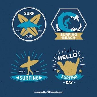 Etiquetas azules de club de surf