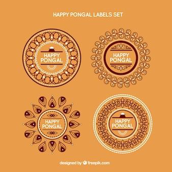 Etiquetas circulares ornamentales