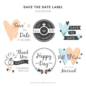 Etiquetas de boda con estilo divertido