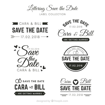 Etiquetas de boda con estilo elegante