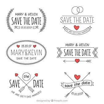 Etiquetas de boda dibujadas a mano