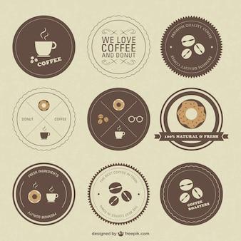 Etiquetas de cafetería retro