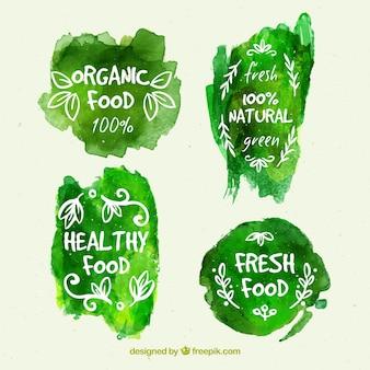 Etiquetas de comida orgánica sobre manchas de pintura