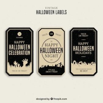 Etiquetas de halloween con estilo elegante