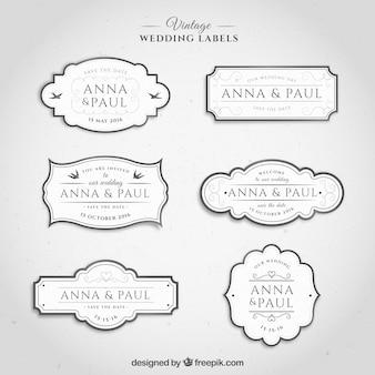 Etiquetas de la boda de la vendimia en el color blanco