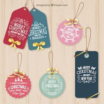 Etiquetas de navidad ornamentales