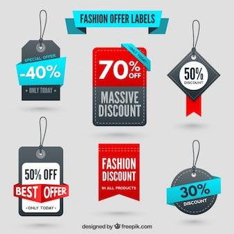 Etiquetas de oferta de moda